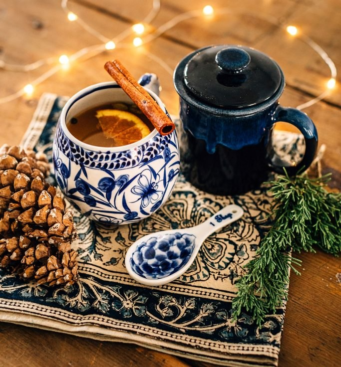 Mulled cider is one of my holiday favorites. I love how it makes the house smell, and how it tastes, of course! This  hand-painted mug from Ten Thousand Villages  is the perfect festive mug! They  have a recipe  too that I'm going to try this year - minus the nutmeg, which… I'm allergic too!