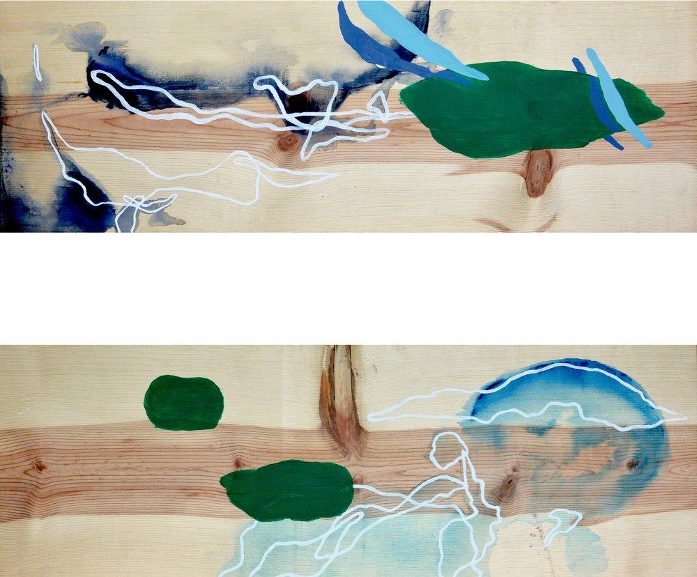 Cloud 1 , 2016. Acrylic on wood. 11 x 32 in.   Cloud 2 , 2016. Acrylic on wood. 11 x 32 in.