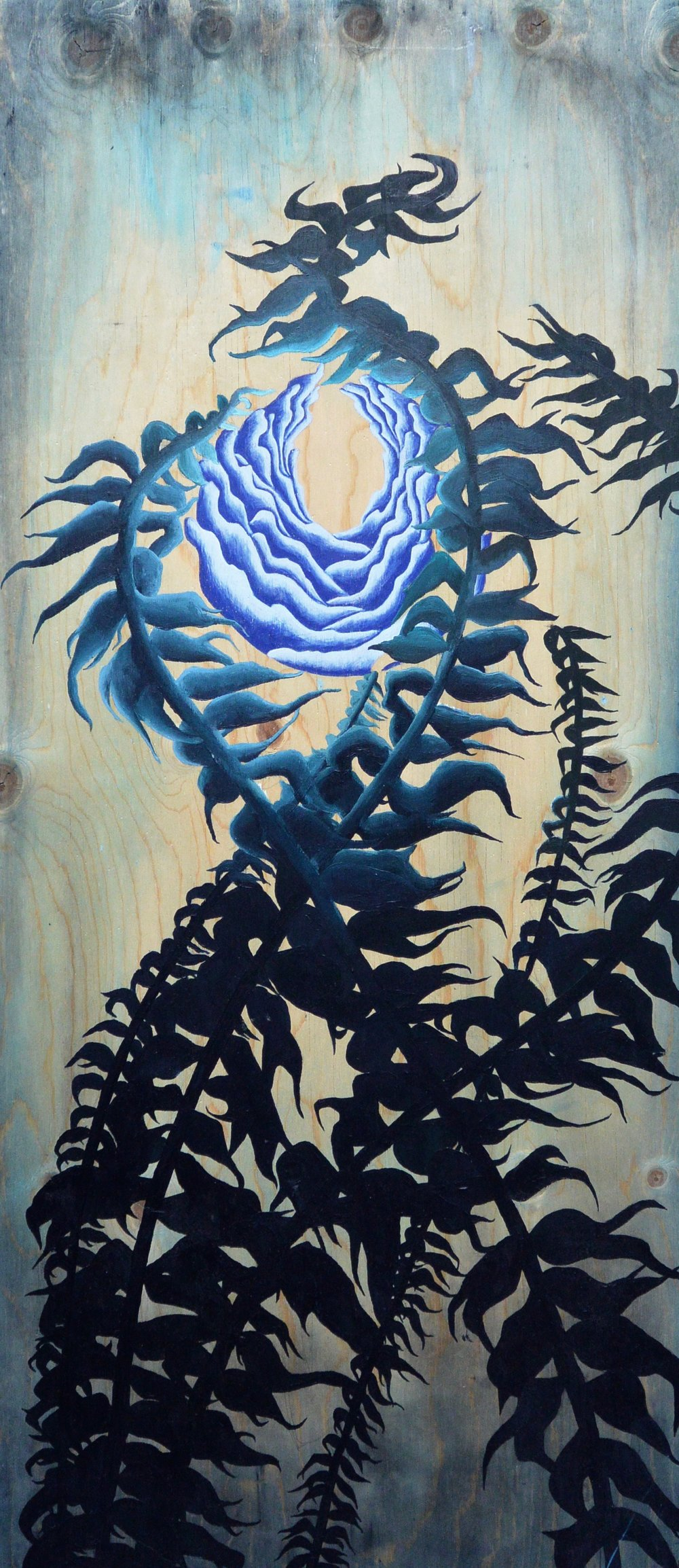 Grandmother , 2015. Acrylic on wood. 42 x 18 in.