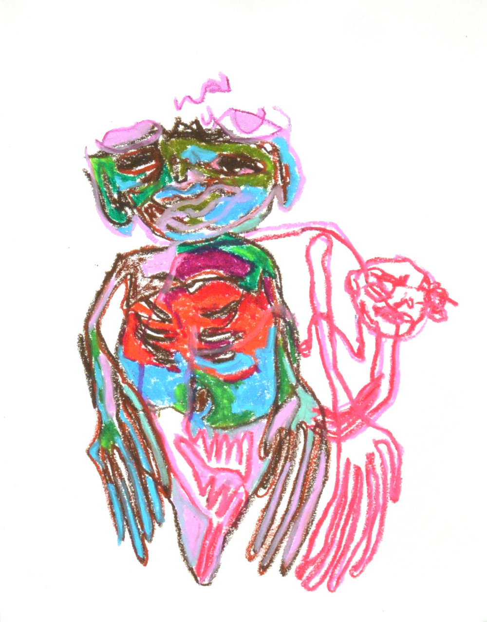 Twig, larva, drape , 2019. Oil Pastel. 14 x 11 in.