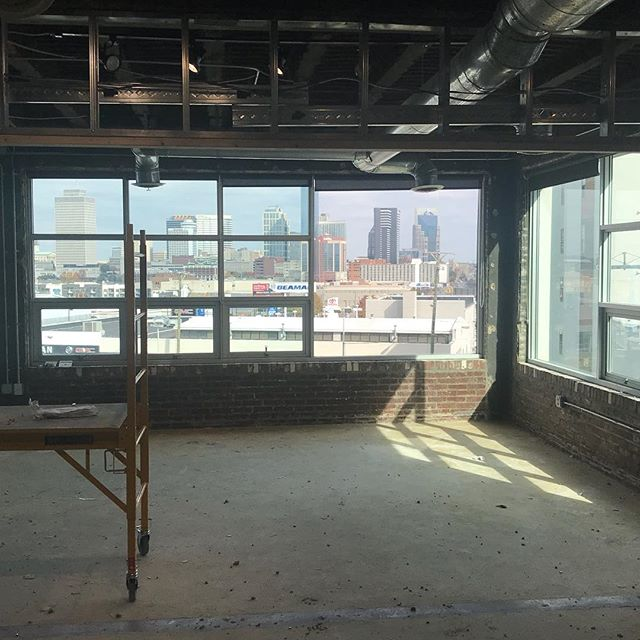 Office remodel with downtown views...not a bad place to work! #nashville #construction