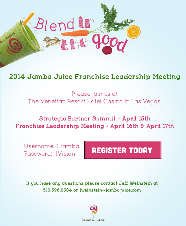 Direct Mail for leadership Meeting sponsored by Jamba Juice.  Art Direction and Design.