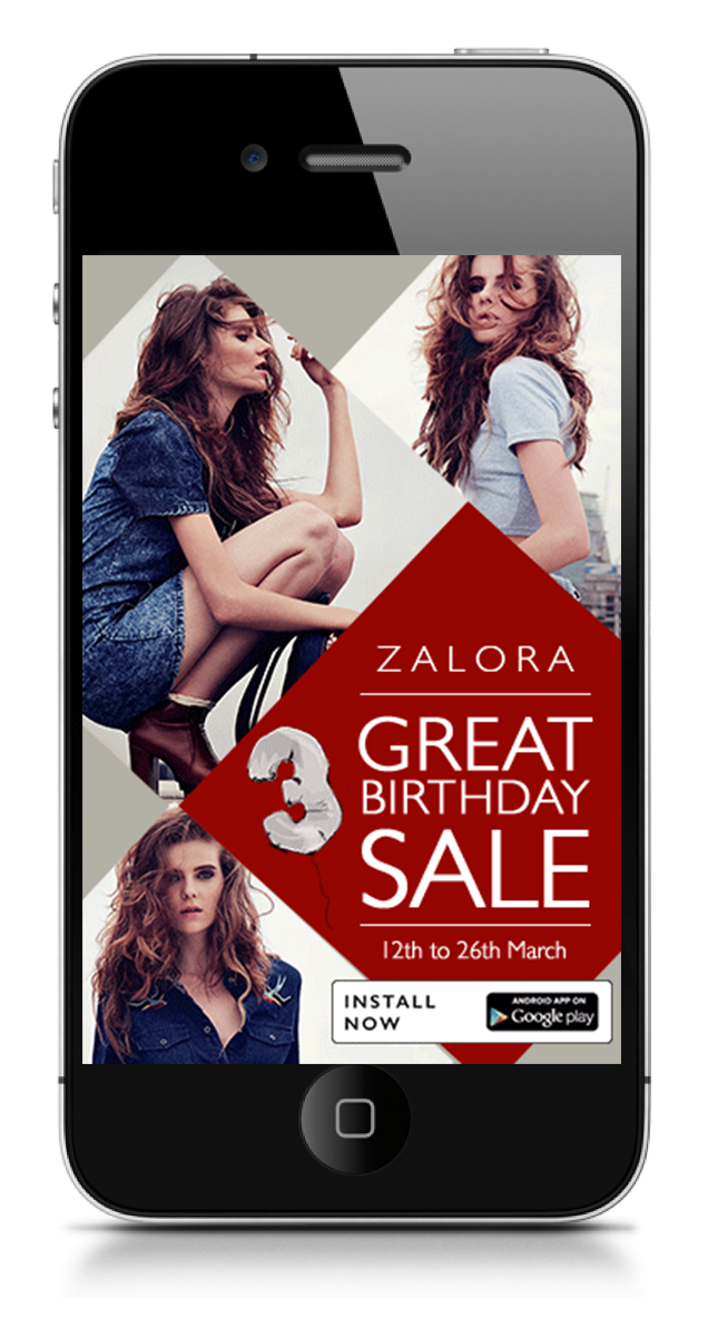 Reveals the full page mobile ad with sale details and Call to Action.  Concept Development and Art Direction.