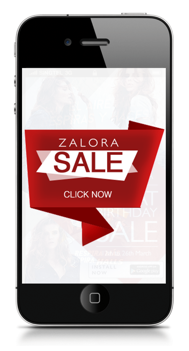 Interactive ad : Click on the floating sale button to view a full page ad.  Concept Development and Art Direction.
