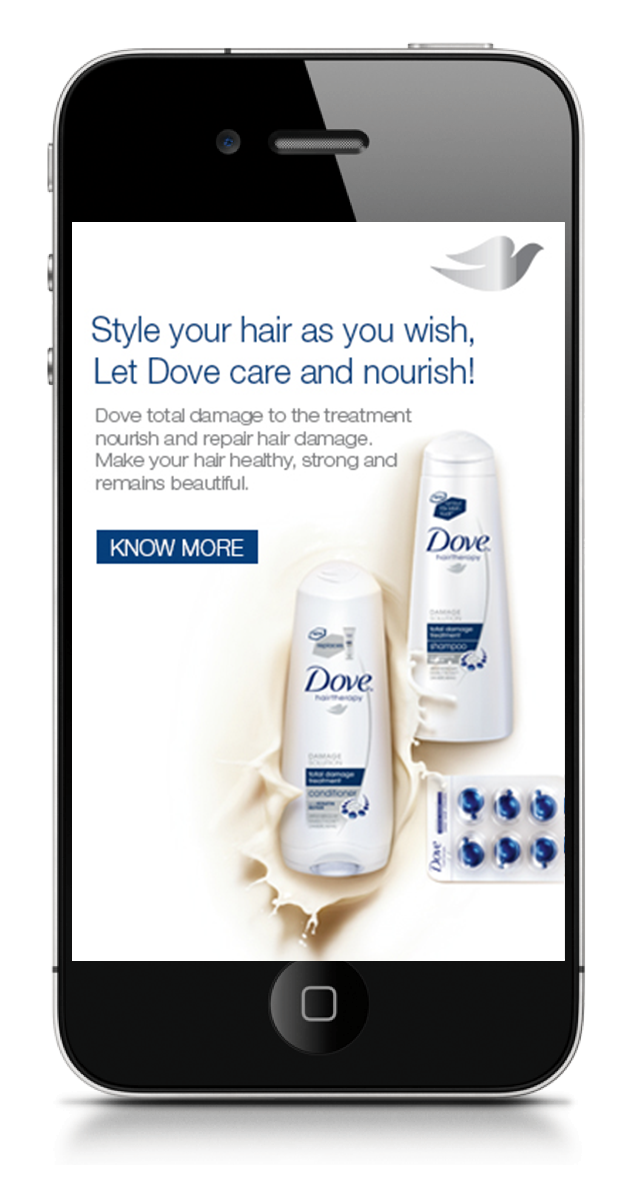 Finally, provided with a solution to thier problem and how Dove helps in nourishment.    Concept Development and Art Direction.
