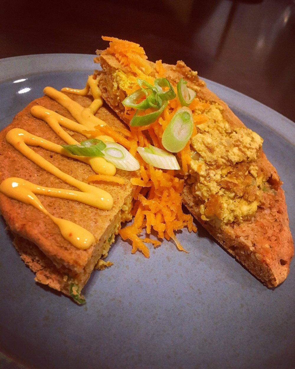 Gluten Free Curry Tofu Scramble Pancakes