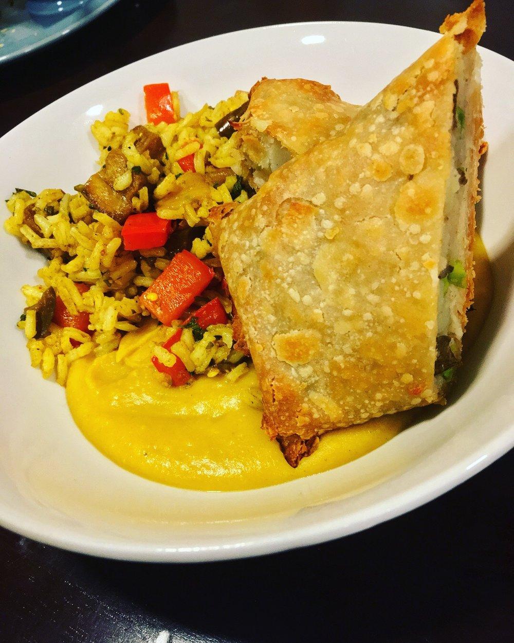 GF Samosas w/ Yello w Split Pea Curry and Date Masala Stir Fry