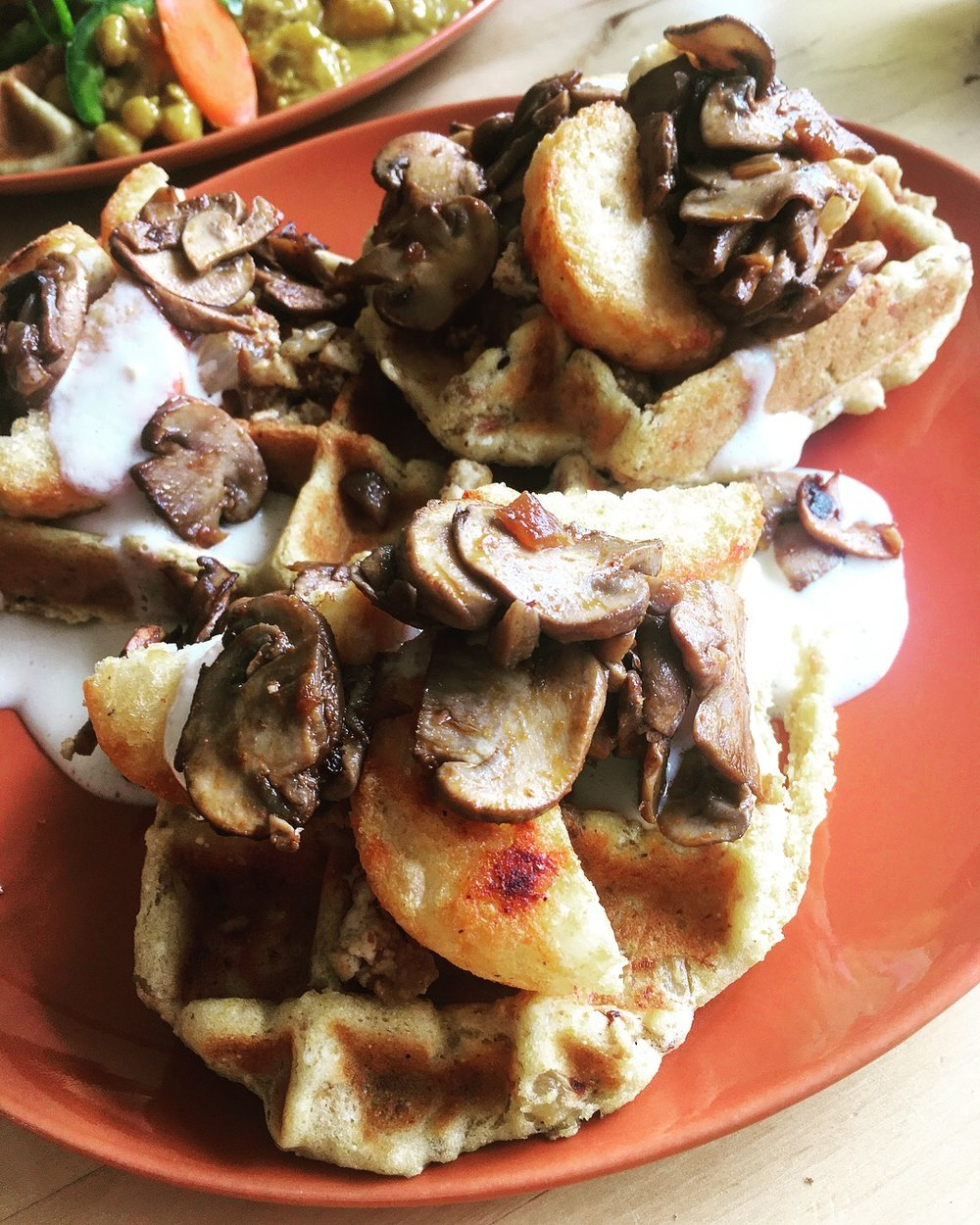 Garlic Maple Waffles