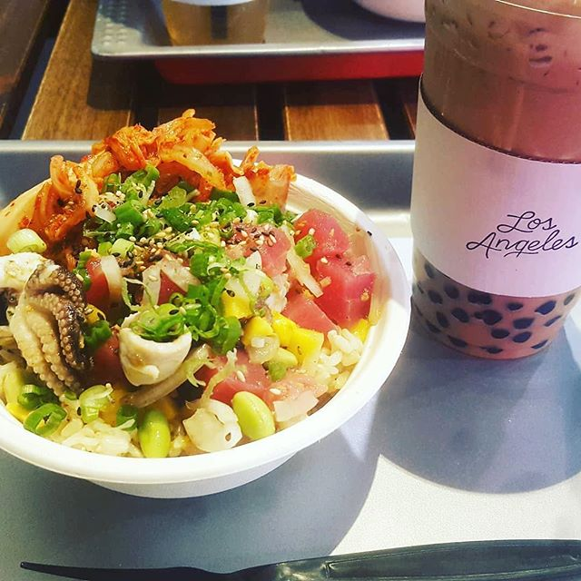 Just as January comes to an end - baby octopus is back! Perfectly paired with boba.  Photo by @kimeatskyoto #pokeandboba #littletokyo #losangeles