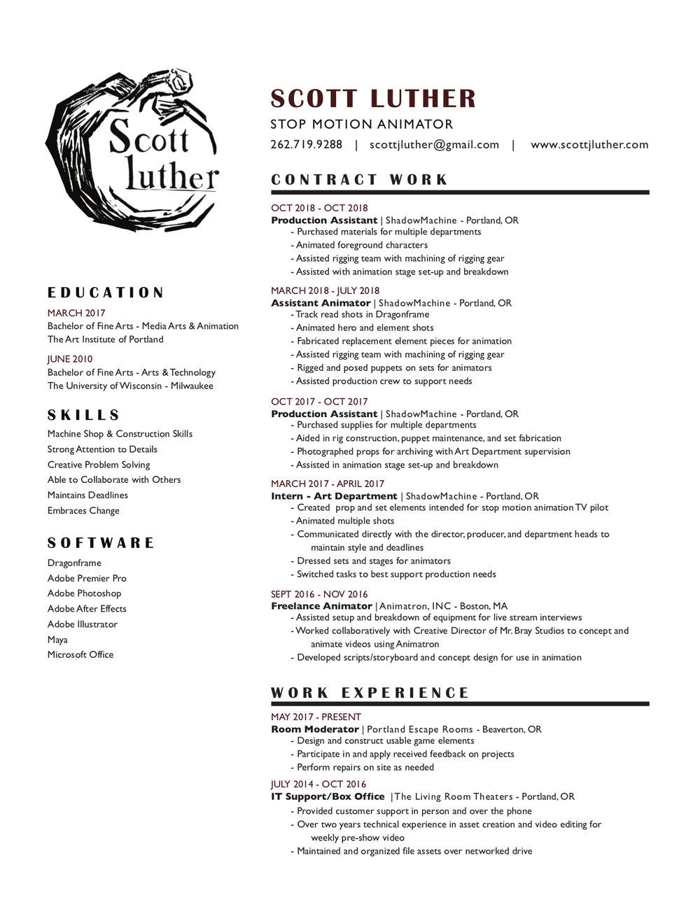 contact resume home