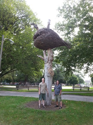 Marc Schneider and Ron Grenko with Marc Sculpture Southside Park.
