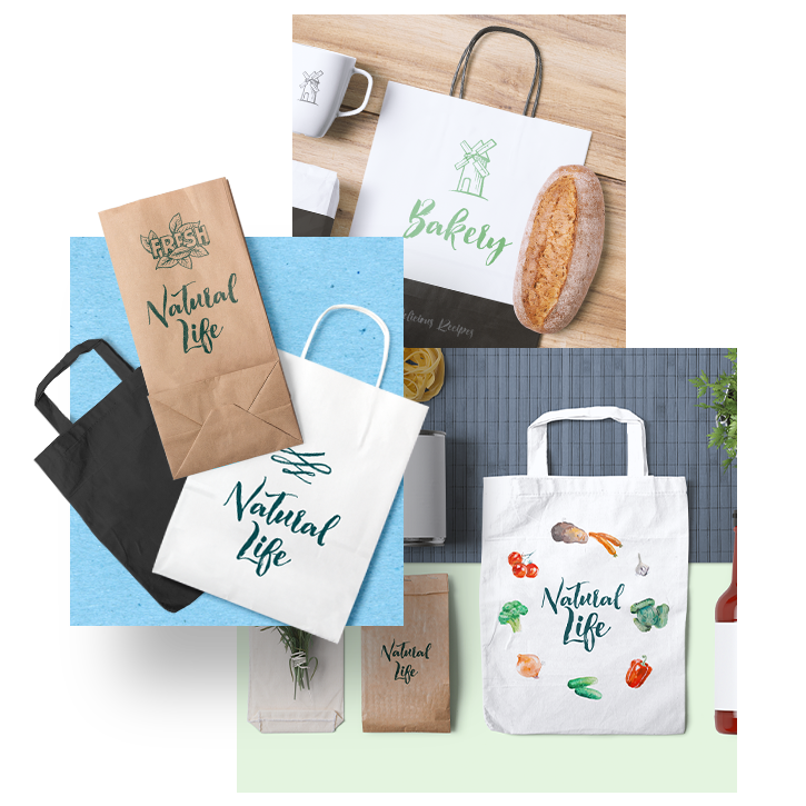 32 Paper Bag MockUps - Craft, white and black bags. In many different sizes and suits great with other items. Includes paper and cloth bags.Full Preview