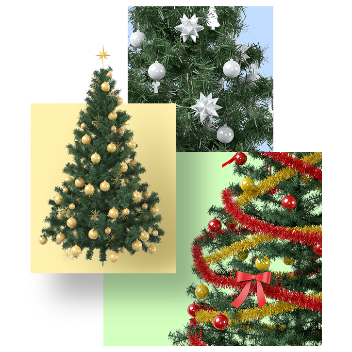 Christmas Trees - You will get 4 high resolution xmas trees. Suits great with other additional items. Let's put this near of your fireplace.Full Preview