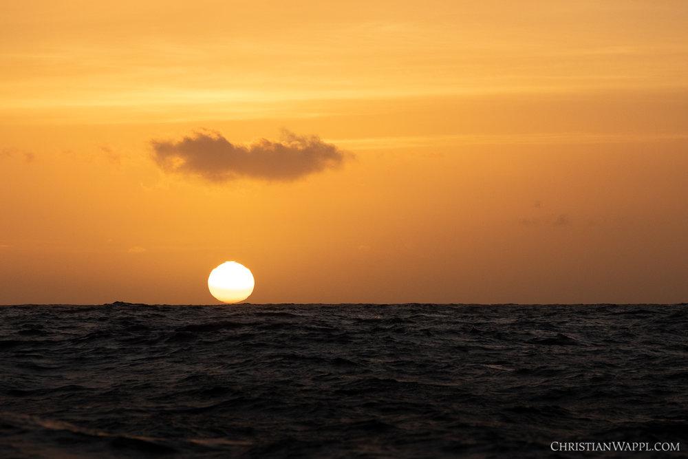 The sun touching the horizon