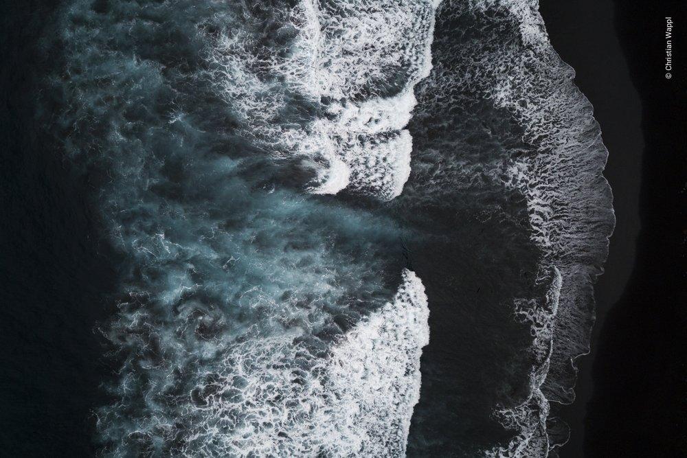 Waves on lava sand, Canary Islands
