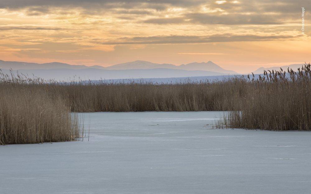 Sunset over frozen Lake Neusiedl, Austria