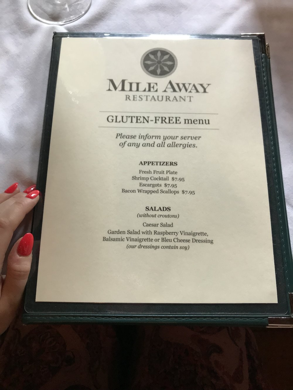 Mile Away, NH - Gluten Free menu