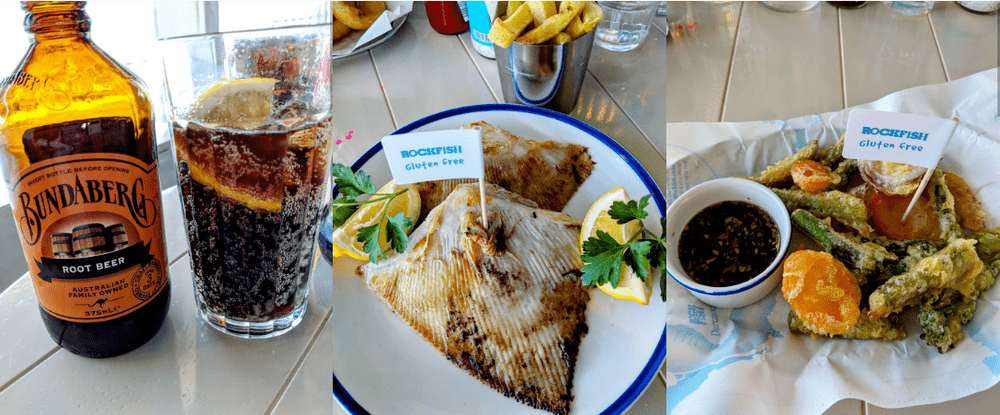 a-collage-of-a-glass-of-root-beer-a-skate-fish-and-gluten-free-tempura-in-devon.png