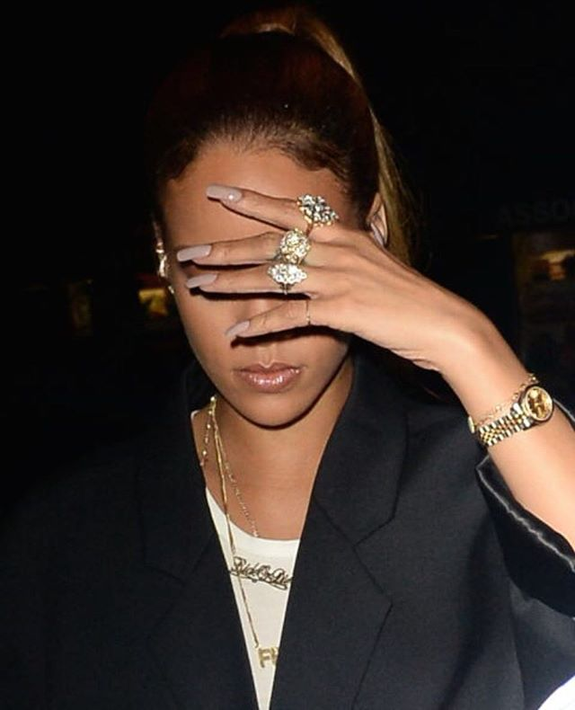 "@elleuk call this the ""FEIGN THE MIGRAINE"" look, but we are swooning over @badgalriri gorgeous nails. #WomanCrushWednesday #NailEnvy #BeautyBloggers #RihanaNavy #Rihana"