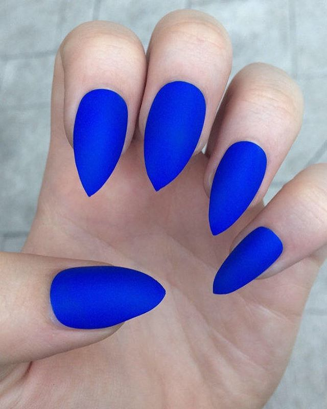 Matt Blue nails to chase away the Monday Blues. Les power through another great week! #MattBlueNails #MattNails #MondayBlues #NailDesigns