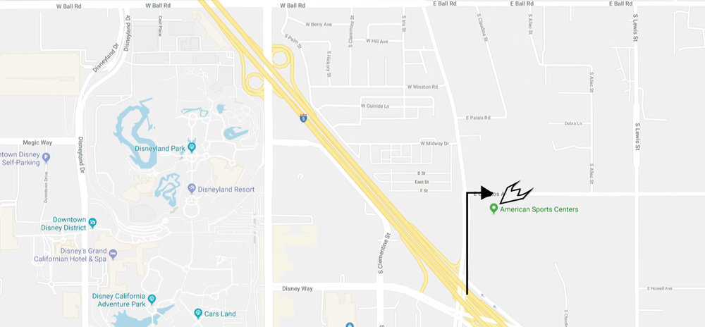 Exit Freeway 5 @Katella Ave/Disney Way/Civic Center/Disneyland Drive north on Anaheim Blvd Turn right @Cerritos Ave Turn immediate right into ASC parking lot