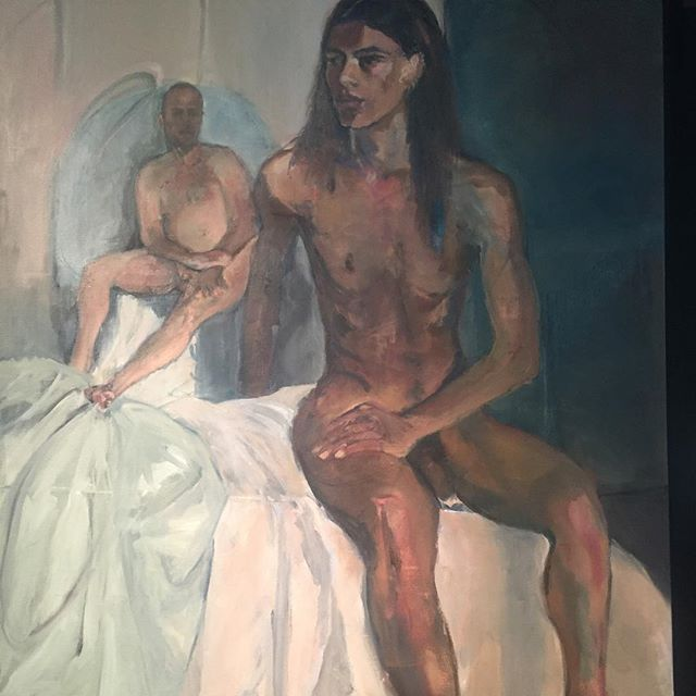 'Model and man' by Sarah Shaw. Amazing oil canvas #art #expressionism #progress #discussion #blog come and join the discussion on 27th March 2017 @chelsea_theatre ticketing info available from admin@elephantintheroom.network