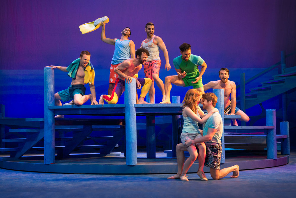 Briana Rappa, Mike Heslin, and cast of Mamma Mia! at the Ogunquit Playhouse - Photo by Gary Ng