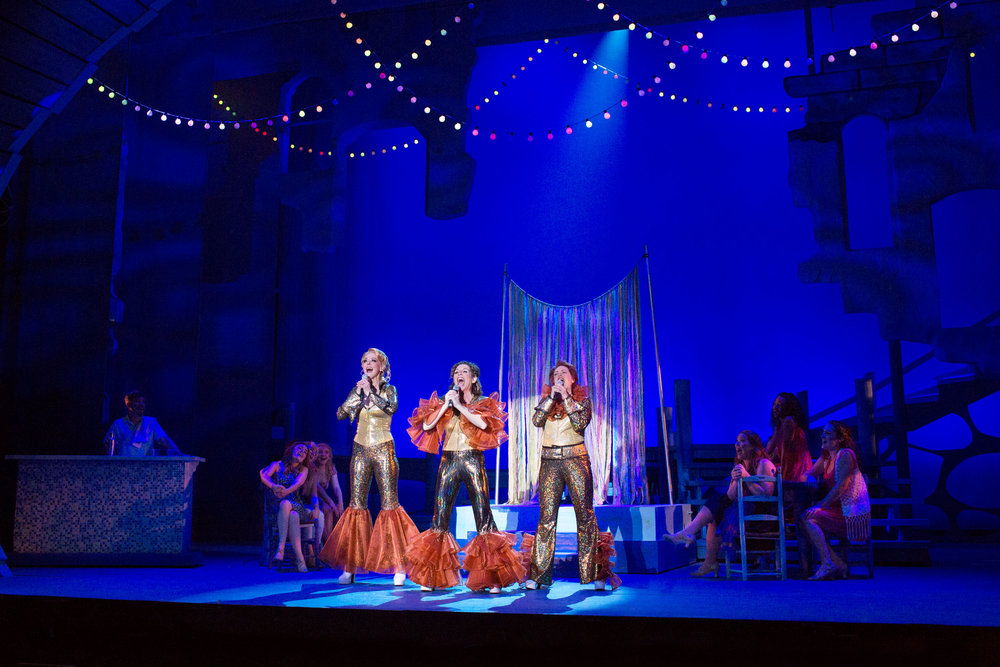 Angie Schworer, Jodie Langel, Kate Chapman, and cast of Mamma Mia! at the Ogunquit Playhouse - Photo by Julia Russell