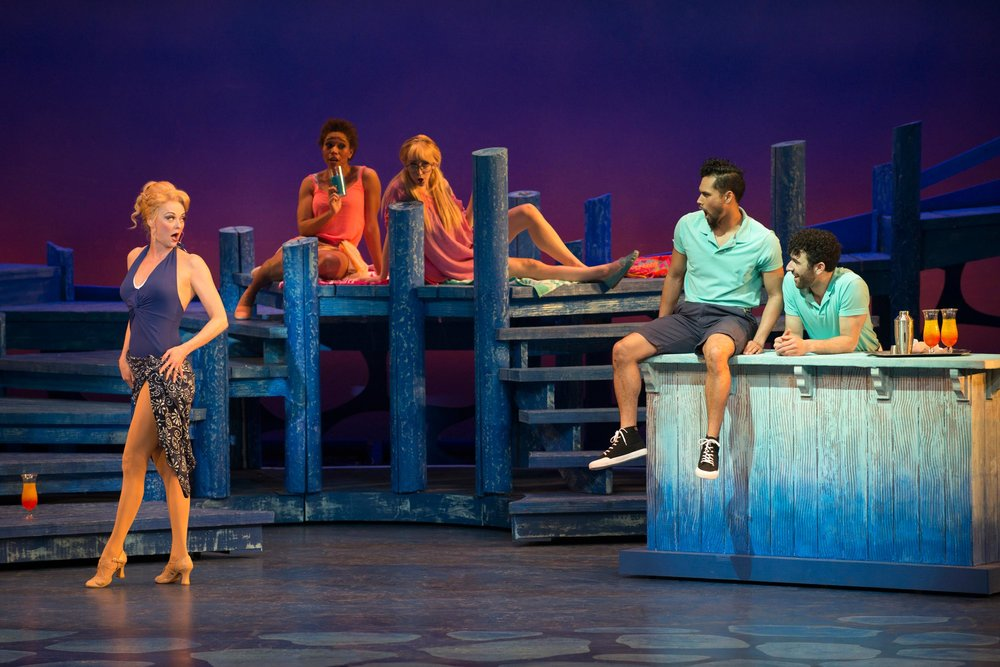 Angie Schworer, Taylor Broadard, Sarah Faye Beard, Andy Tofa, DJ Peteosino in Mamma Mia! at the Ogunquit Playhouse. Photo by Gary Ng