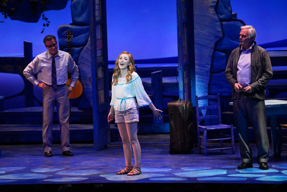 David Engel, Briana Rapa, and Patrick Cassidy in Mamma Mia! at the Ogunquit Playhouse - Photo by Gary Ng