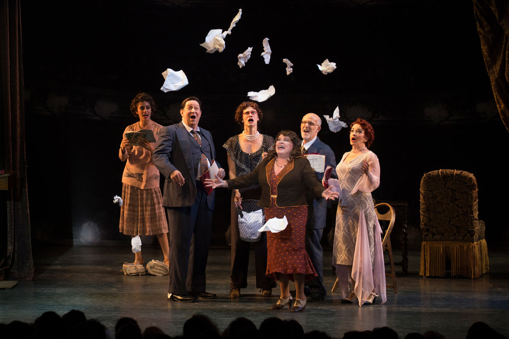 Carissa Fiorillo, John Paul Almon, Elizabeth Dugas, Sally Struthers, Kenny Morris, and Michele Ragusa in Bullets Over Broadway at the Ogunquit Playhouse, 2017 - photo by Gary Ng