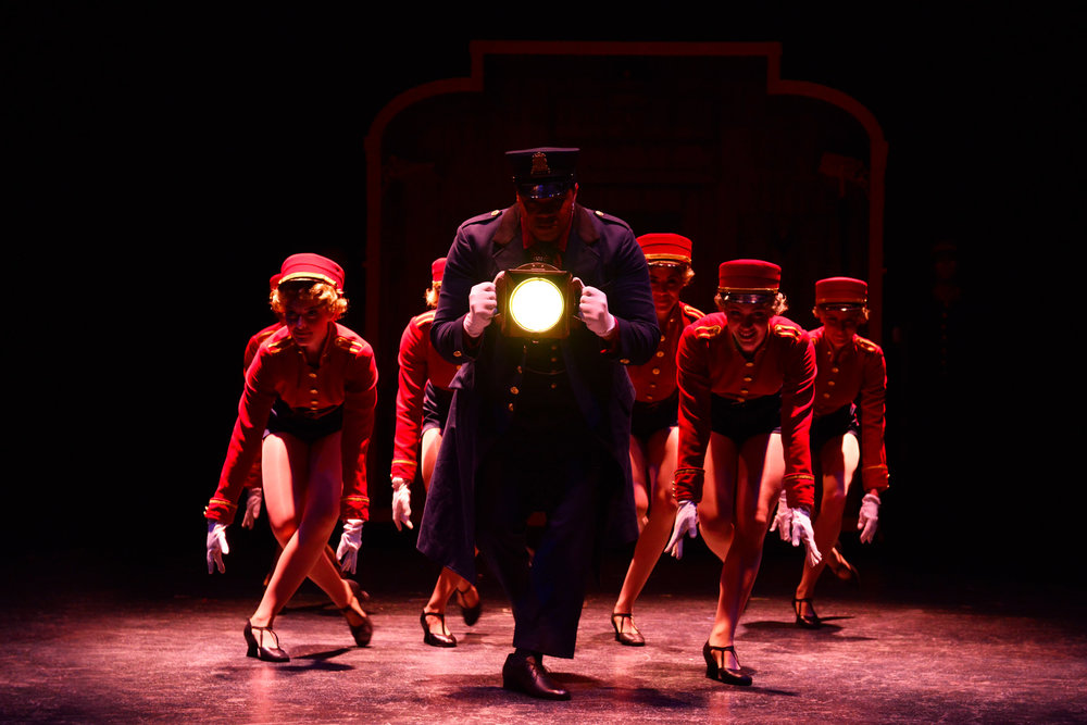 Vanessa Mitchell, Will Mann, Carissa Fiorillo, Corinne Munsch, and Kelly Peterson in Bullets Over Broadway at the Ogunquit Playhouse, 2017 - Photo by Gary Ng