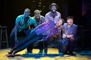 Jelani Remy, Shavey Brown, John Edwards, Dwayne Cooper, and Max Sangerman  Photo by Joan Marcus  Smokey Joe's Cafe 0047.jpg