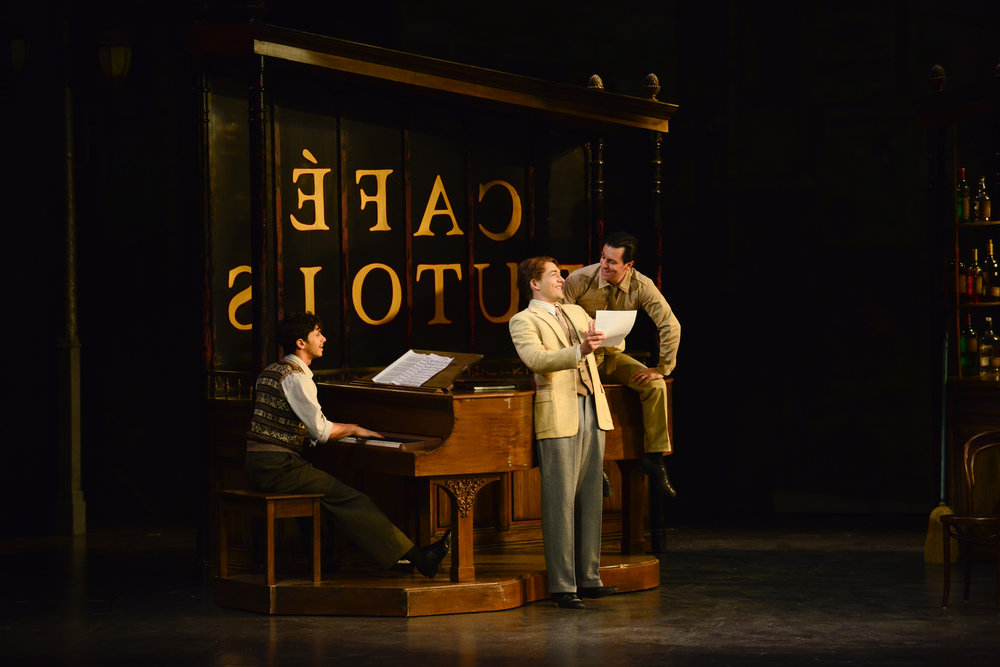 Jeremy Greenbaum, Stephen Brower, and Clyde Alves in the 2018 production of An American in Paris. Photo by Gary Ng.