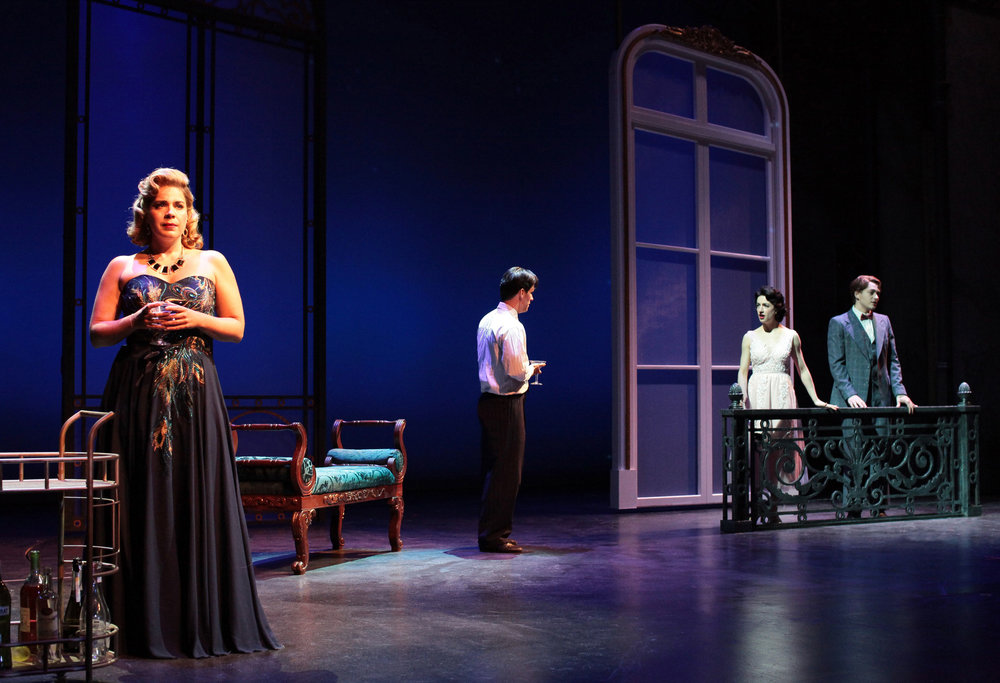 Laurie Wells, Clyde Alves, Julie Eicher, and Stephen Brower in the 2018 production of An American in Paris. Photo by Jay Goldsmith.