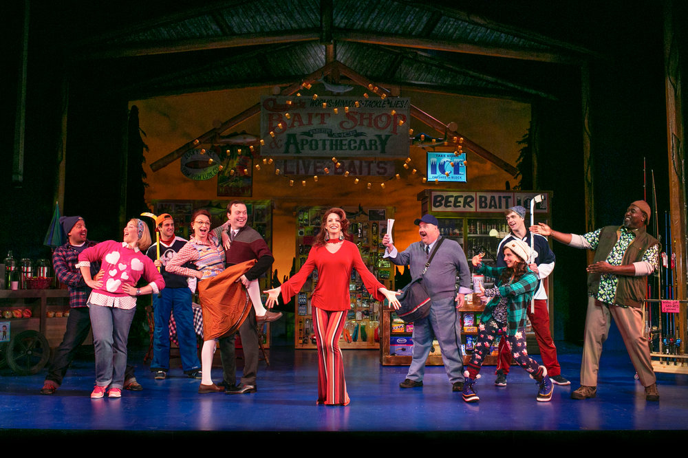 Eric Jon Mahlum, Heather Jane Rolff, John Battagliese, Christina Tompkins, James Taylor Odom, Leslie Stevens, Blake Hammond, Brooke Singer, Kelly Methven, and Doug Eskew in Grumpy Old Men the Musical at the Ogunquit Playhouse. Photo by Julia Russell.