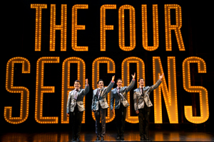 Jonathan Mousset, Matt Magnusson, Matthew Amira, and Andy Christopher in Jersey Boys at the Ogunquit Playhouse, 2018. Photo by Gary Ng.