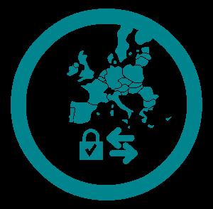 Transfert de données au sein de l'Union Européenne , dans la collection d'icônes  Privacy Icons , par Privacy Tech ( privacytech.fr )