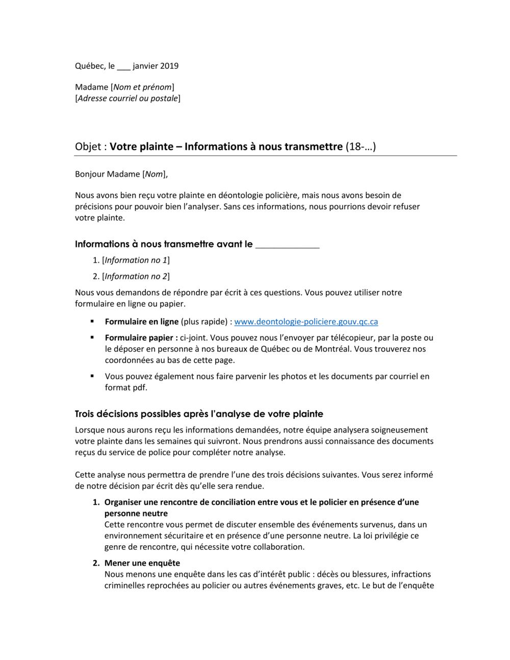 Lettre simplifiée En Clair Service-Conseil inc.