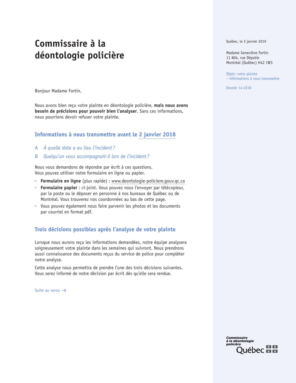 Lettre simplifiée visuelle - Design d'information - En Clair Service-Conseil inc.