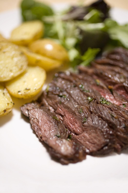 Brazilian Garlic Butter Steak made with Nurture Ranch Grass Fed Skirt Steak
