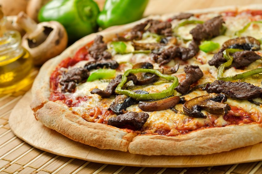 Nurture Steak Pizza made with Nurture Ranch Grass Fed Steak.