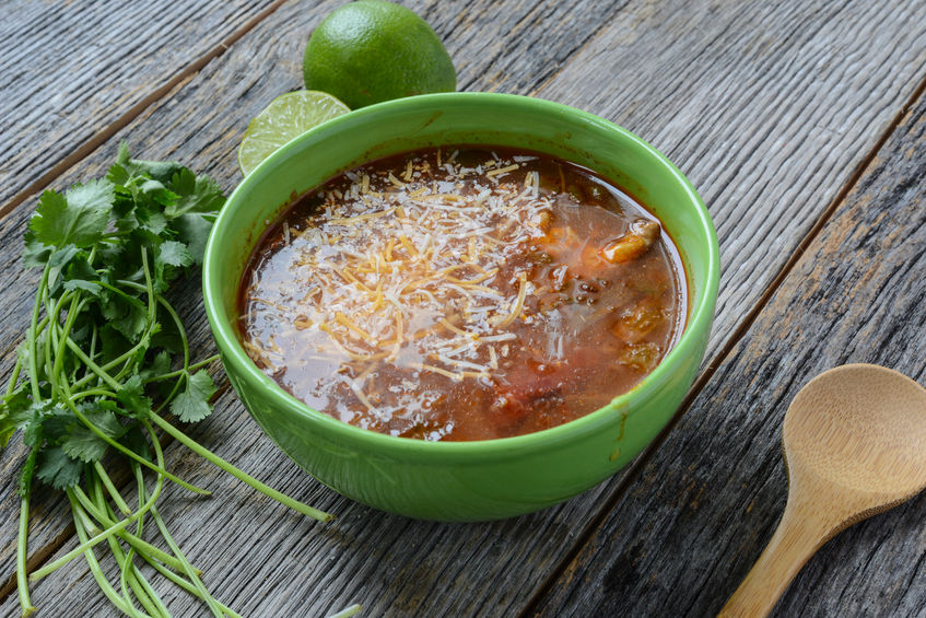 Nurture Tortilla Soup made with Nurture Ranch Grass Fed Ground Beef.