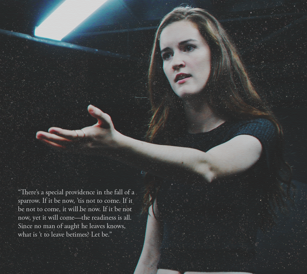 An image from The Shakespeare Project created to to highlight the existentialism of the world of  Hamlet.