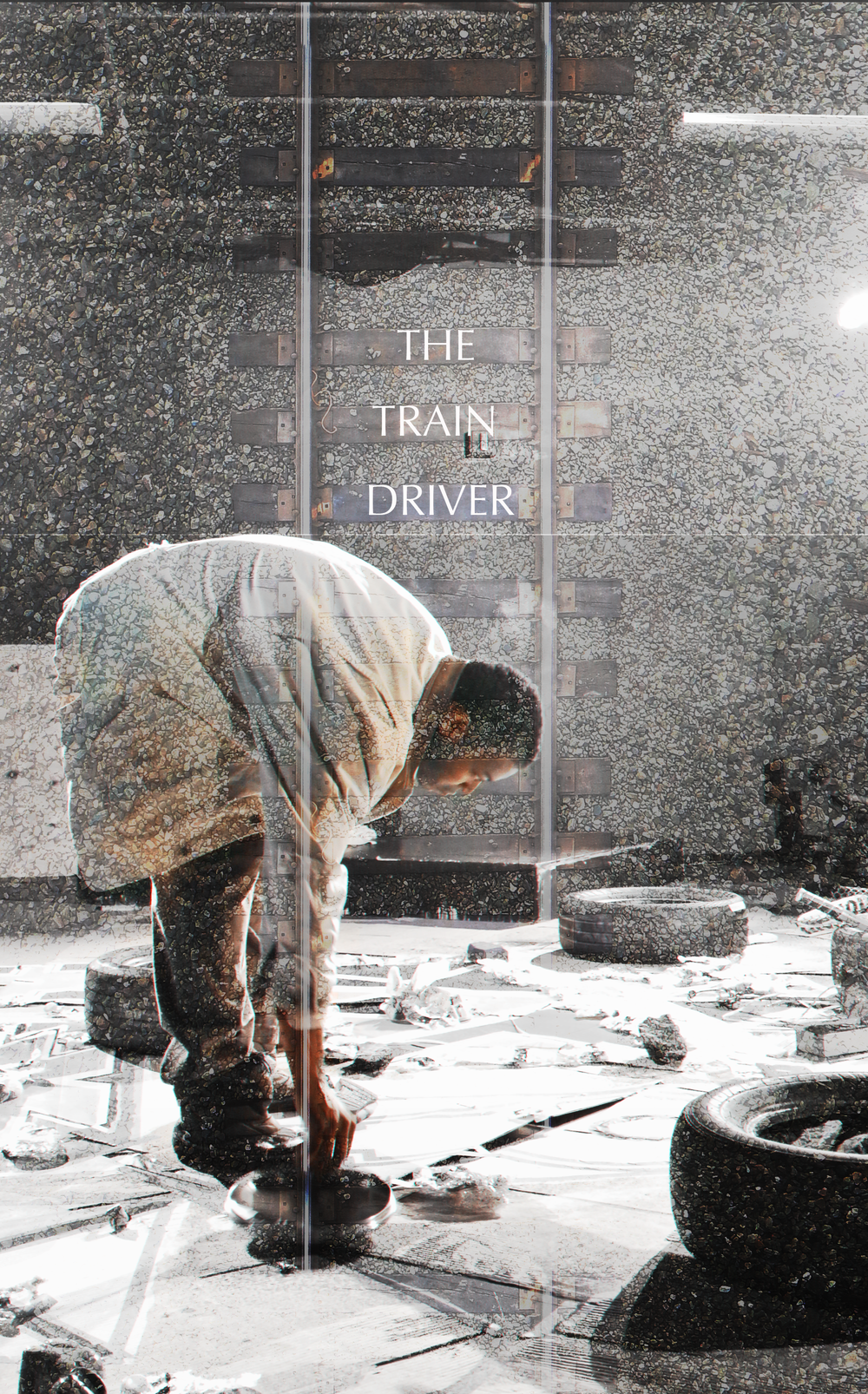 Promotional image from  The Train Driver , featuring actor Aaron Dowdy as Simon. The image was used as a print on a poster for the show.