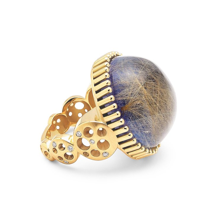 Dana Bronfman Round Rutilated Quartz over Lapis Lazuli Doublet Coin Band Ring, available on danabronfman.com