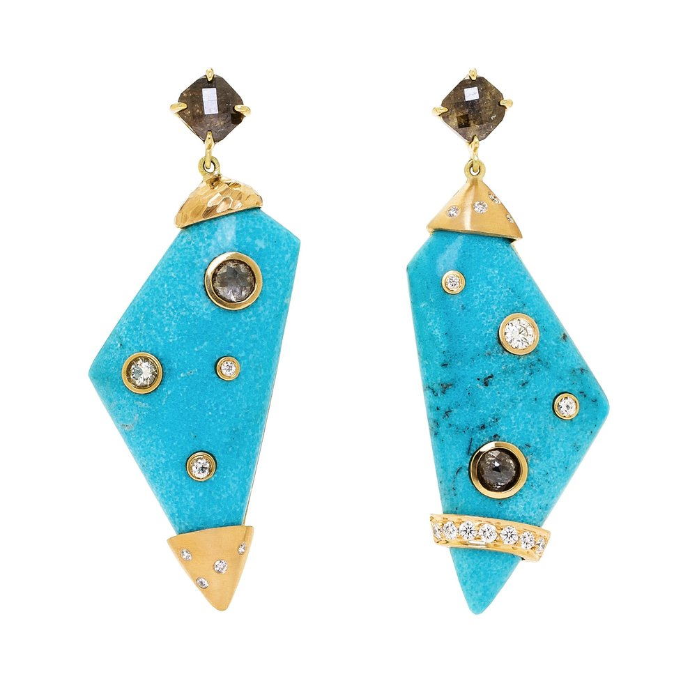 Dana Bronfman Mismatched Galaxy Turquoise Earrings, available on danabronfman.com