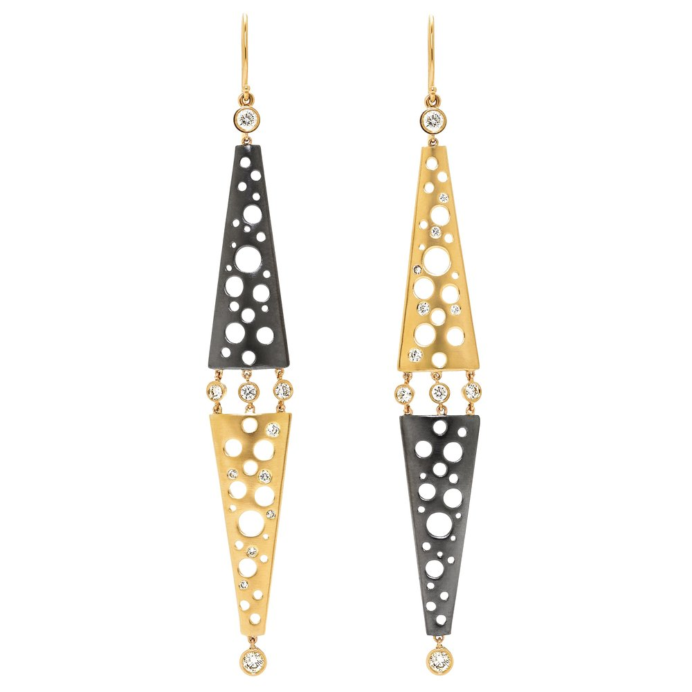 Dana Bronfman Diamonds Dropping On Helena Mirroring Earrings, available on danabronfman.com