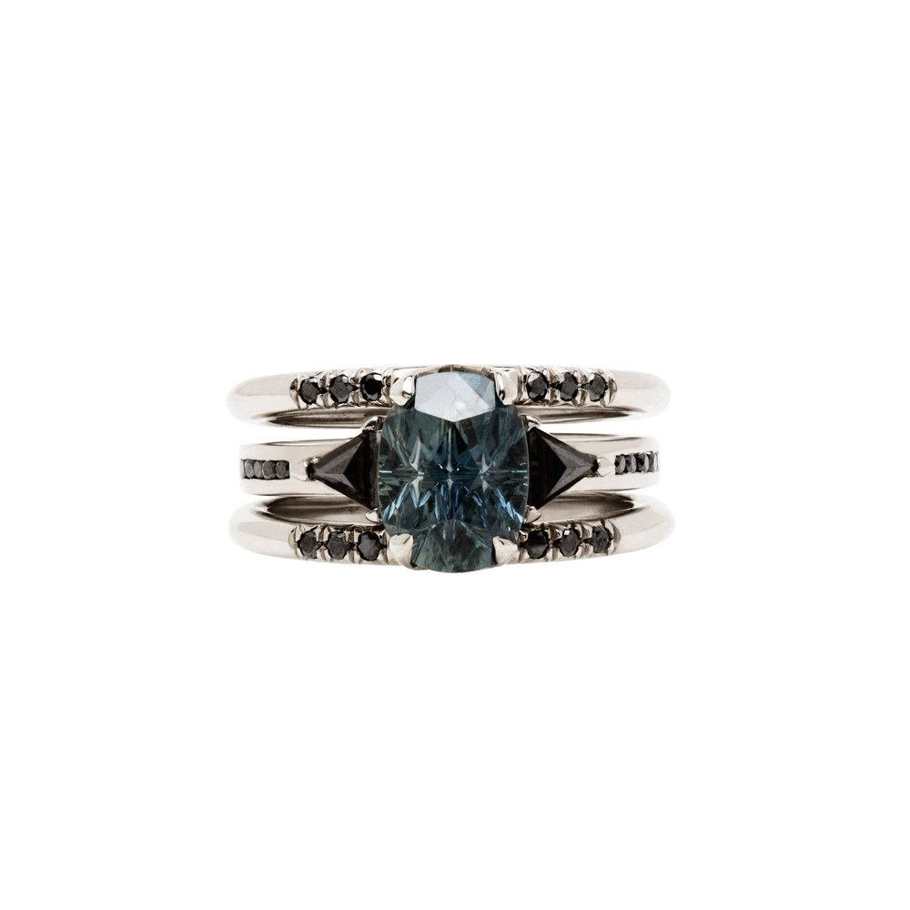 Illuminate Magnetic Ring Pair White Gold Black Diamond Pave