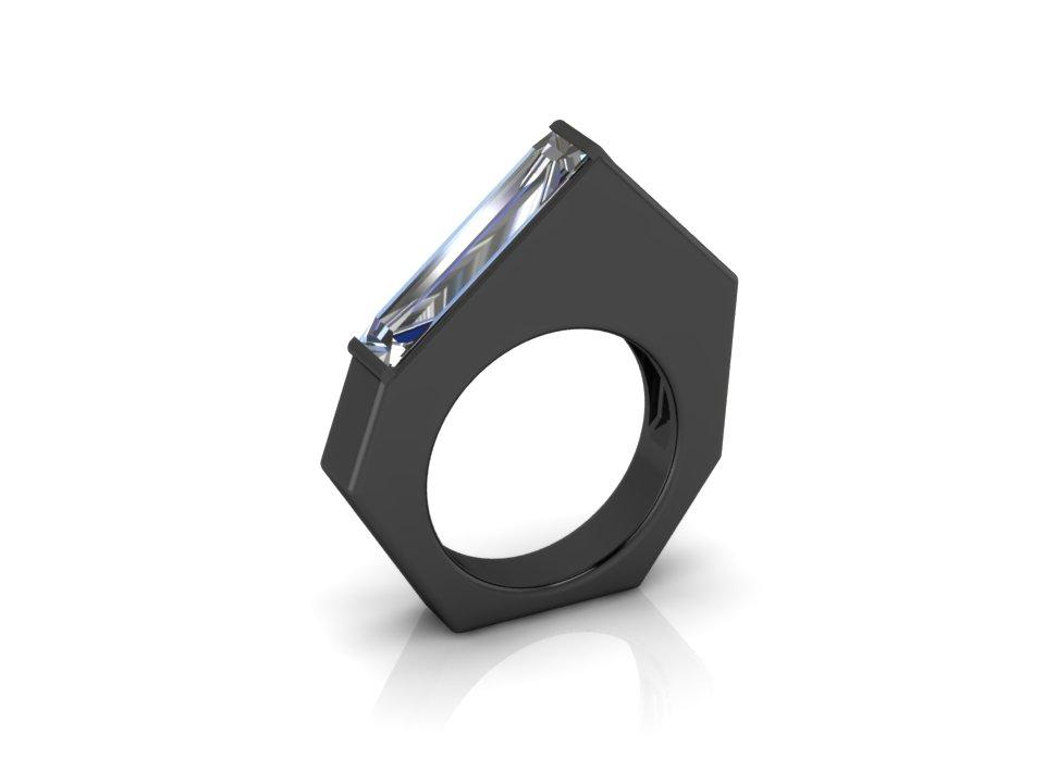 Silver Cubic Zircon, Cyberia Black Ring.jpg